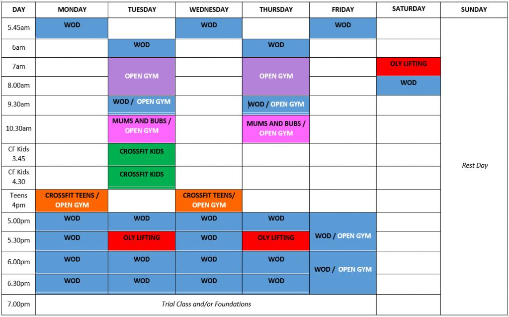 CFQ Timetable